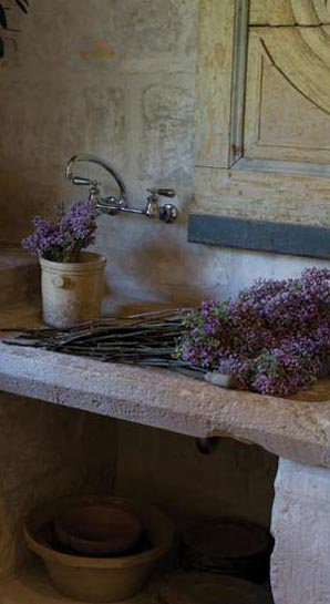 Stone Sink Detail, Kitchen Design by Pamela Pierce for Ruth Gay, owner of Chateau Domingue, as seen on linenandlavender