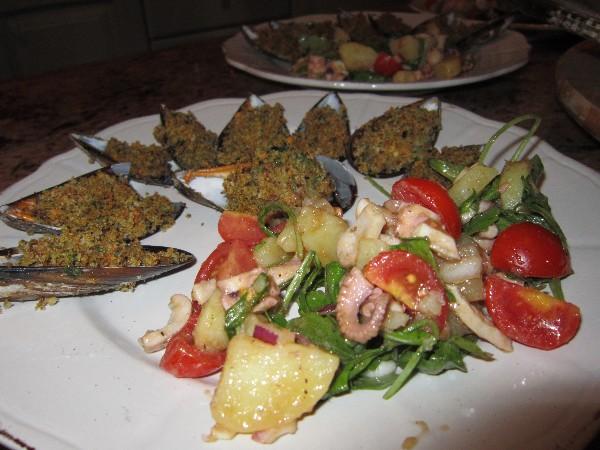 antipasti - insalata colorata di polpo e verdure