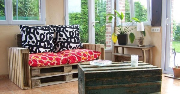 Sof muy f cil de hacer con palets y - Hacer cojines para sofa ...