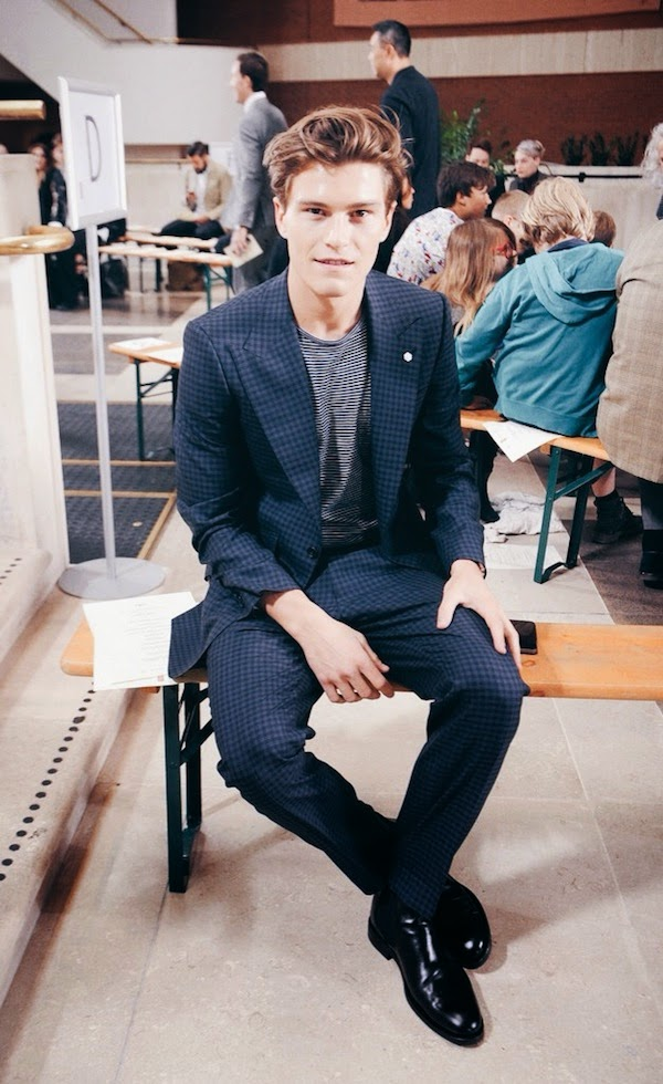 Oliver Cheshire Marks & Spencer Best Of British blue check suit Reiss t-shirt London Collections Day 1 LCM
