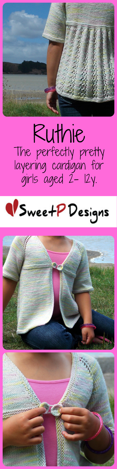 Ruthie by SweetP Designs. A perfectly pretty layering cardigan for sizes 2-12y.