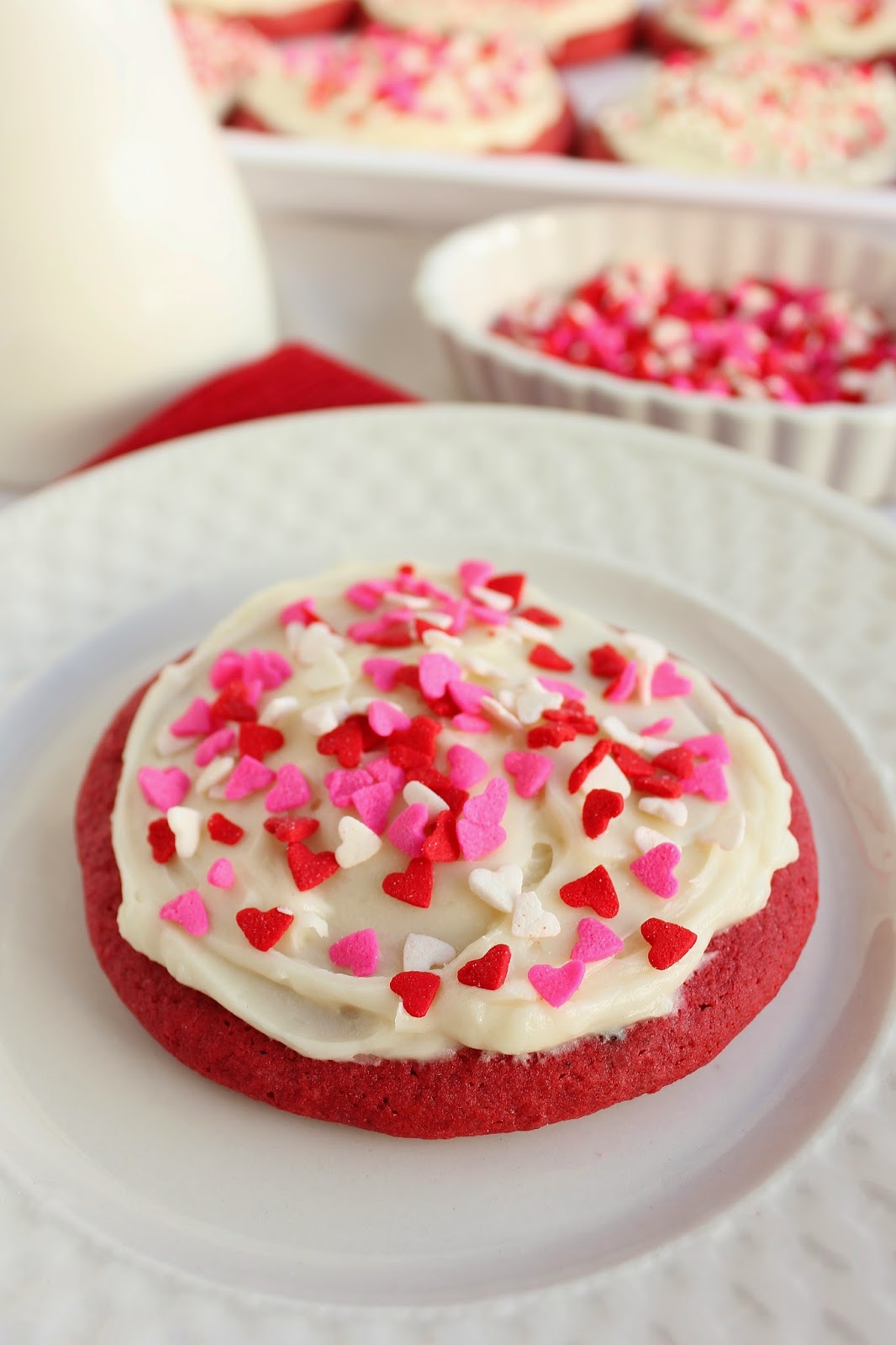 Soft Red Velvet Sugar Cookies With Almond Cream Cheese Frosting