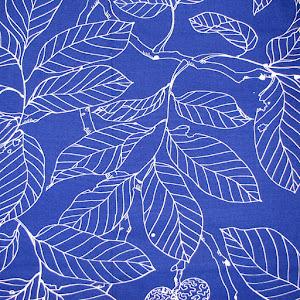 Tela - Azul Hojas blancas