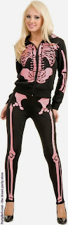 Ladies Skeleton Hoodie Sweatshirt (Pink) Adult - Day of the Dead Costume