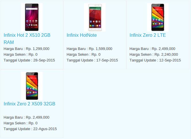 Daftar Terbaru Harga Hp Infinix Oktober 2015