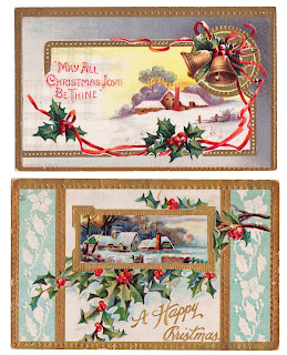 Using vintage postcards to decorate for Christmas - The Cedar Chest blog