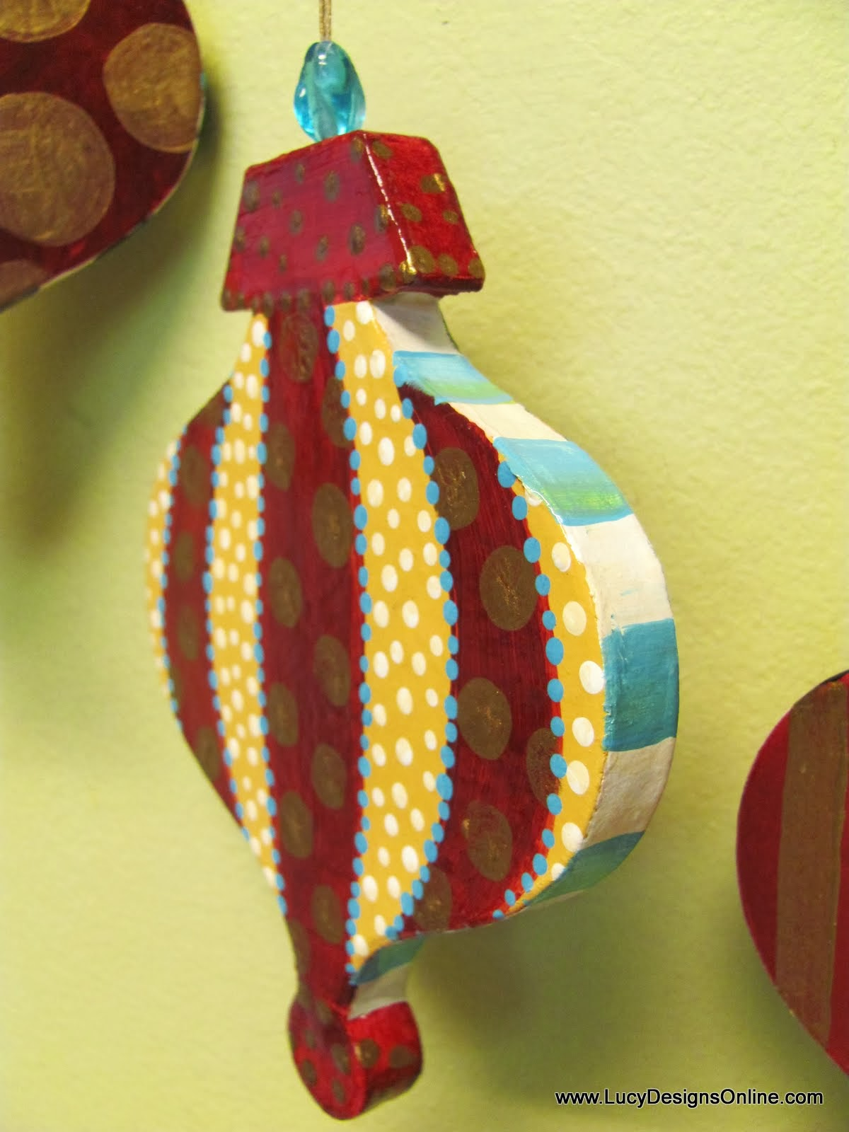 Large white christmas ornaments - Painted Paper Mache Christmas Ornament