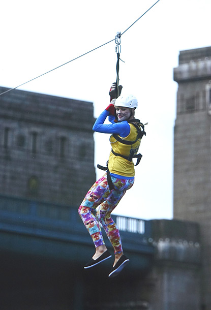 Emma Seed zip wiring across the River Tyne for Cats Protection