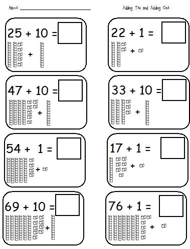 math worksheet : first grade shenanigans adding 10 and 1; subtracting 10 and 1 : Base Ten Blocks Addition Worksheets
