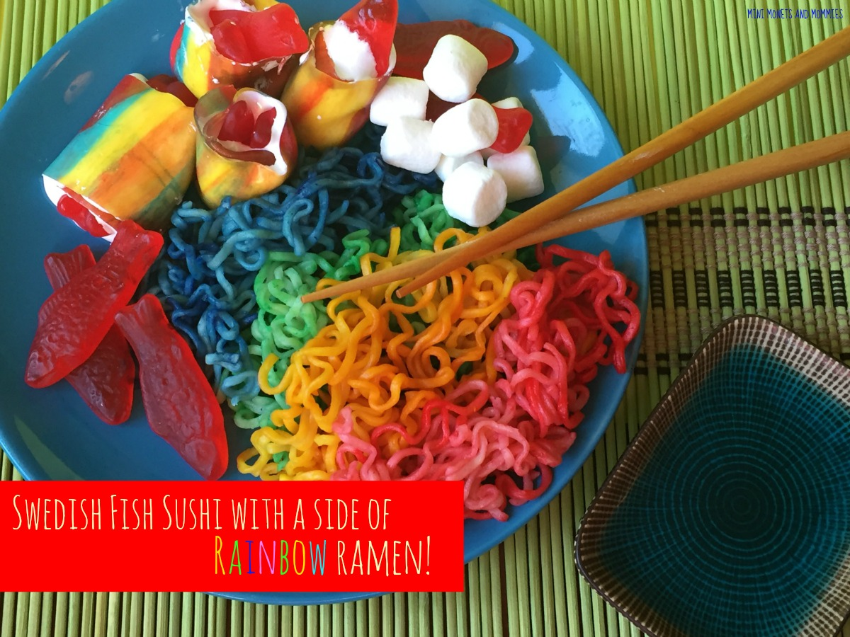Mini Monets and Mommies: Swedish Fish Candy Sushi with Rainbow Ramen