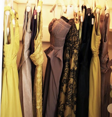 rack of yellow dresses