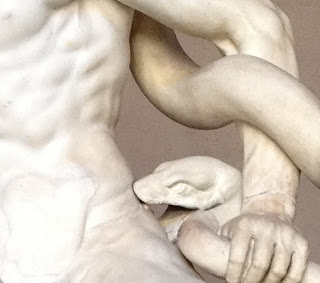 El célebre grupo de Laocoonte fue esculpida por Agesandro, Polidoro y Atenodón de Rodas. La figura representa la agonía del príncipe troyano Laocoonte y sus hijos, cuyos cuerpos aparecen estrujados por serpientes marinas.