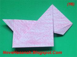 cara dan langkah dengan gambar melipat origami anjing yang mudah