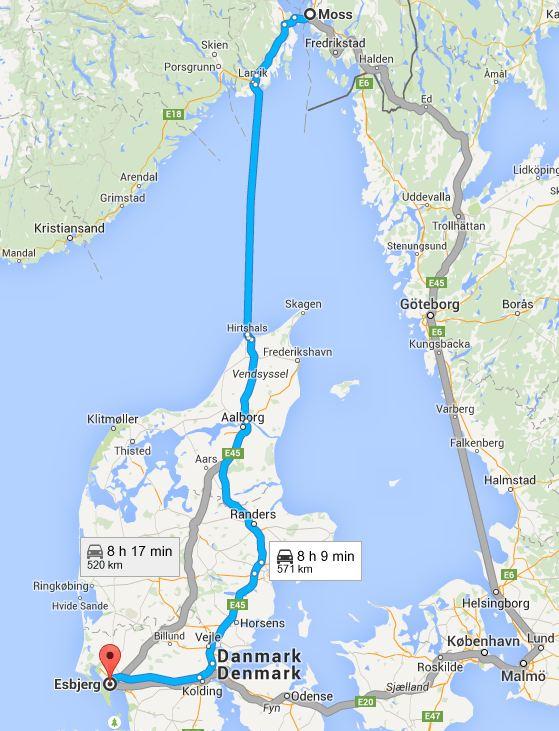 Stage Norway Denmark European Road Trip In A Tesla Model S - Norway denmark map