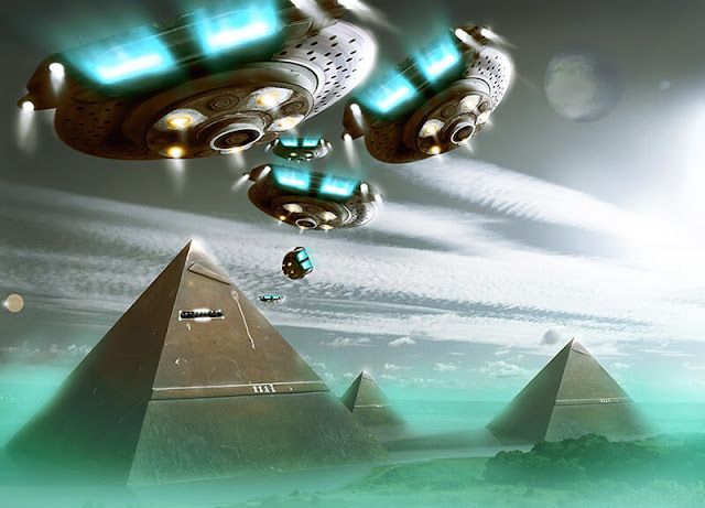 Papyrus Reveals Extraterrestrials Visited Ancient Egypt — Now Allegedly Lost UFO_FLEET_PYRAMID-1