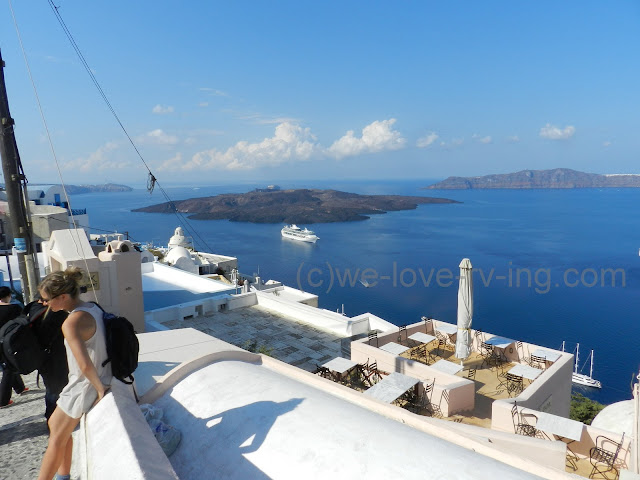 We can see the epicentre of the dormant volcano from Fira