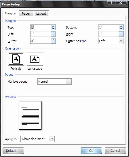 Microsoft Word Page Setup Form Image
