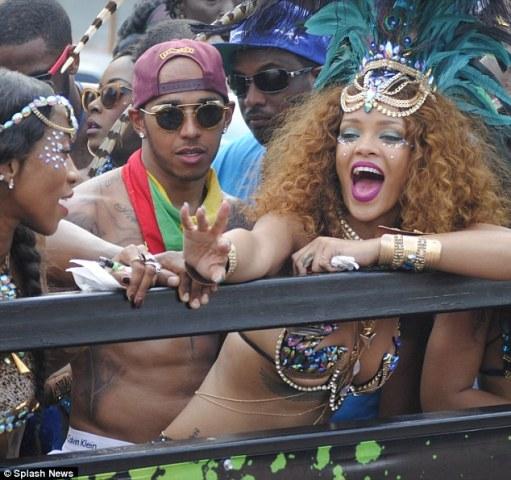 Rihanna & Lewis Hamilton cosy up at Barbados festival  1