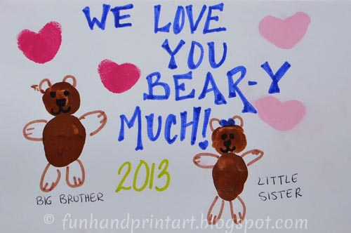 Thumbprint Bear Valentine's Day Card