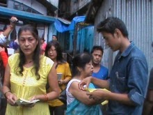 GNWO members distributing the handouts in Kalimpong