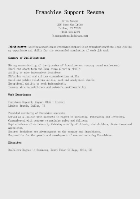 Great Sample Resume: Resume Samples: Franchise Support Resume
