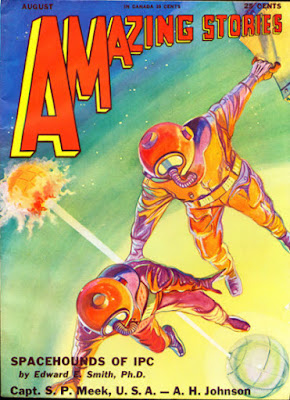 "An ""Amazing Stories"" cover depicting two astronauts floating in space."