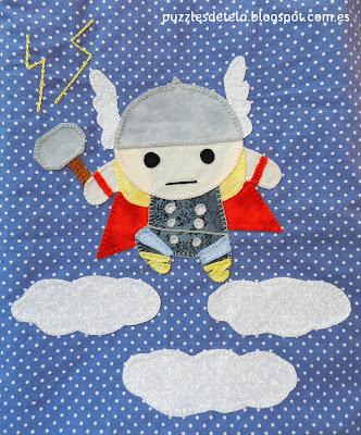 Thor, dios del trueno, patchwork, handmade, hecho a mano, bolsa de merienda, mochila, mochila para niños, mitología nórdica, Mjolnir, puzzles de tela, vuelta al cole