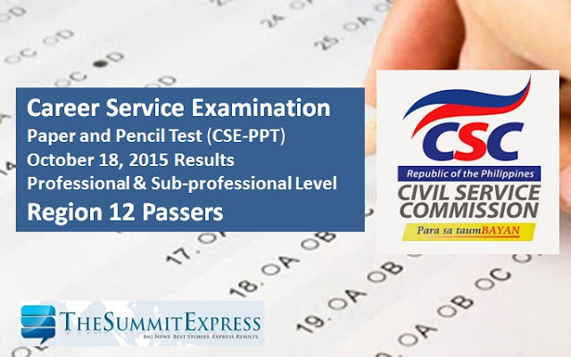 October 2015 Civil service exam results (CSE-PPT) Region 12