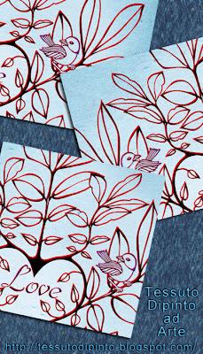 passerotti, foglie, cuore e scritta Love per albero genealogico