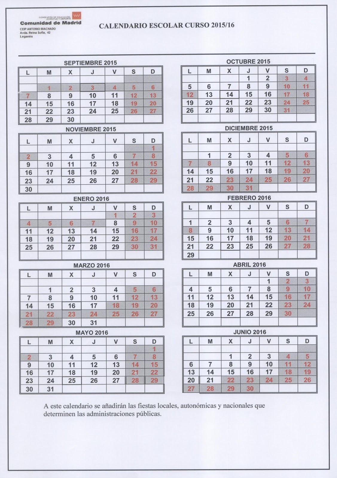 Gogle Calendario Escolar 20152016 | New Calendar Template Site