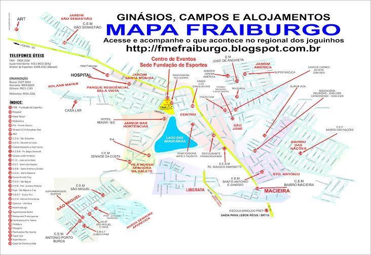 MAPA DA CIDADE COM PRAÇAS ESPORTIVAS E ALOJAMENTOS