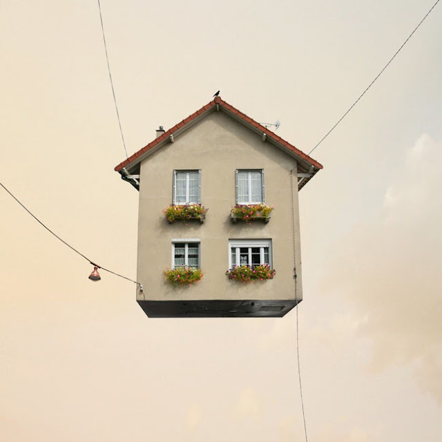 Casas,voladoras,Laurent Chehere,Fying,houses,francia,france,paris,19th, 20th,arrondissement,cables,windows,ventanas
