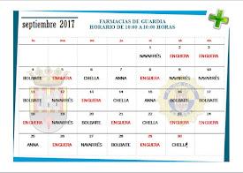 FARMACIA DE GUARDIA SEPTIEMBRE 2017