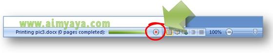 Gambar: Cara membatalkan proses / progress pencetakan dokumen Microsoft Word
