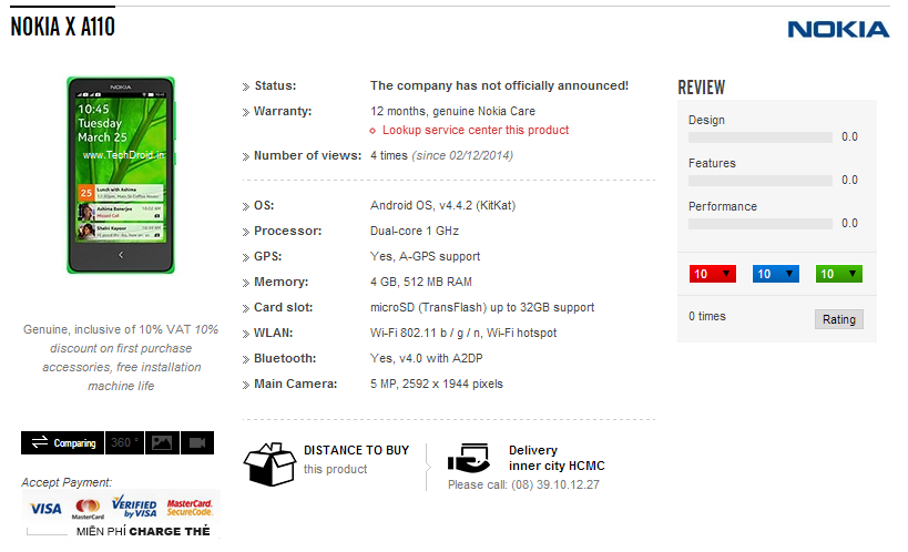 Nokia X retailer listing