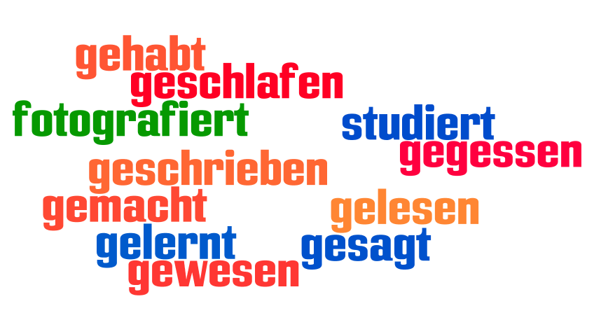 the present perfect of the irregular verbs german for