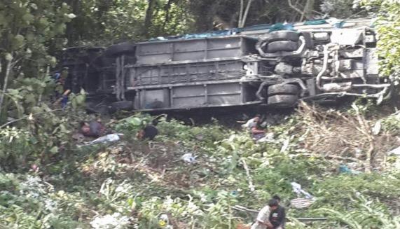 Kejadian Bas Express Tawau-KK Jatuh Gaung di Kg Kiau, Ranau