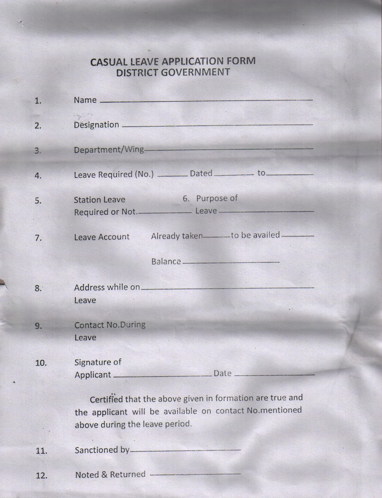 Punjab Education: Casual Leave Form
