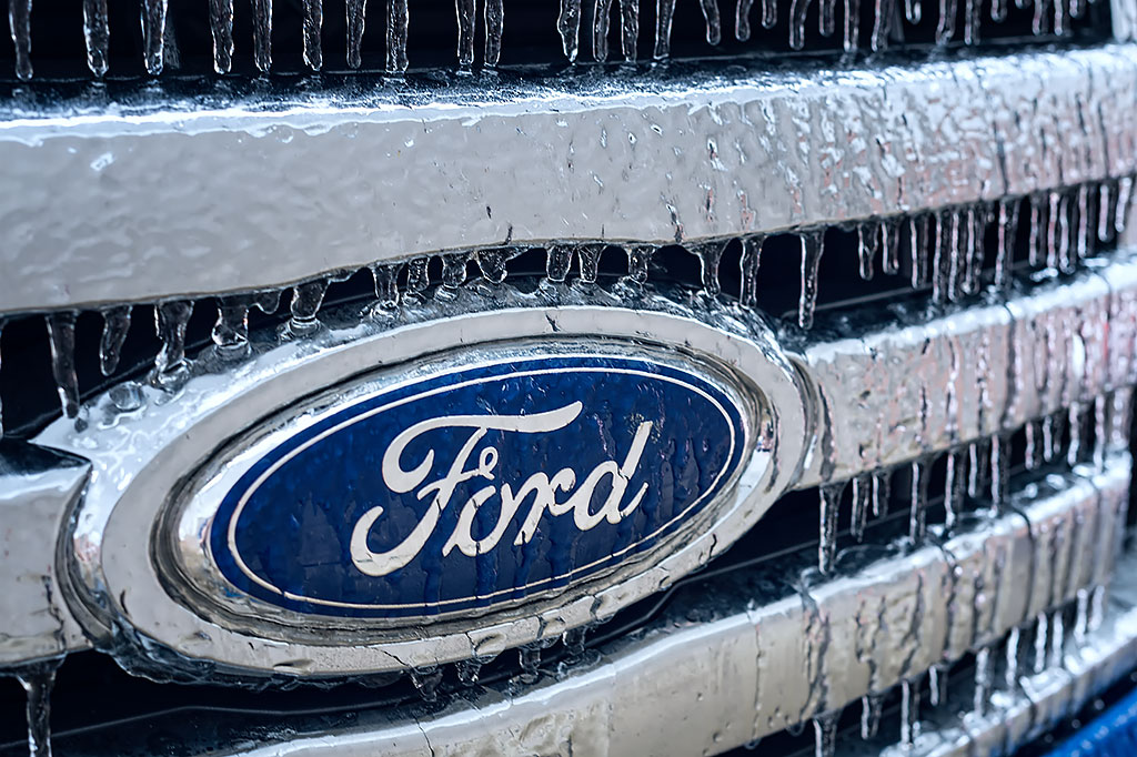 Ice on the Ford truck grill