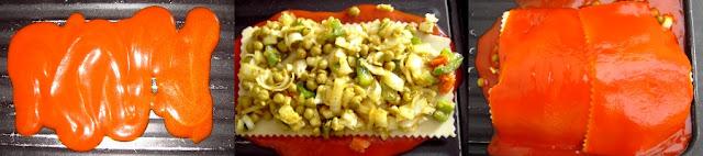 proceso de lasaña de guisantes al curry