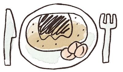 ハンバーグのイラスト 線画