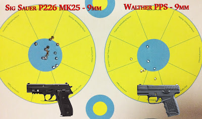 Targets fired at from a Sig Sauer P226 and Walther PPS