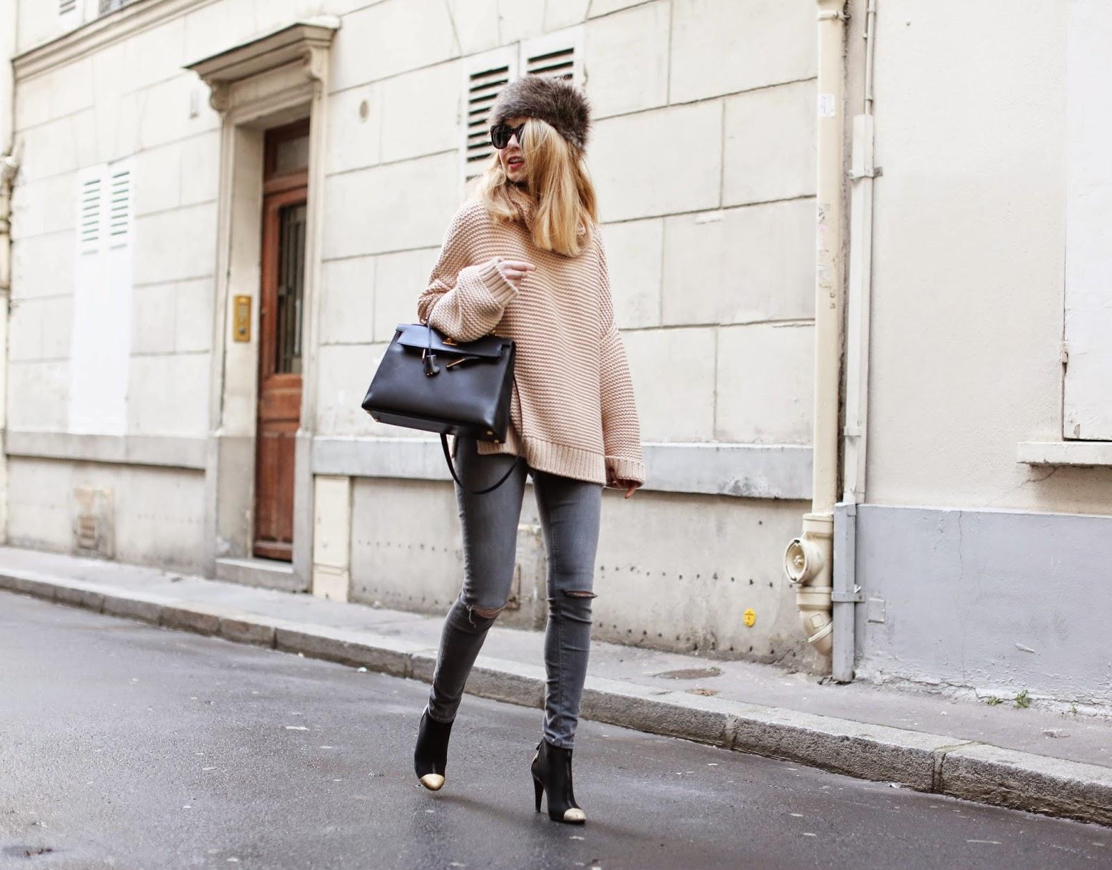 cosy knit, zara, chanel, hermès, topshop, fur hat, streetstyle, paris