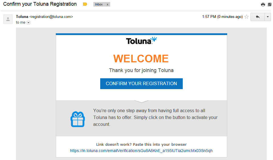 Confirm your registration by clicking verification link | Toluna surveys