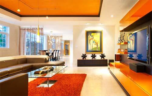 Minimalist Red And Orange Living Room Ideas