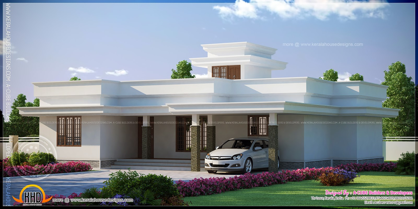 Contemporary flat roof single storied house model kerala Modern flat roof house designs
