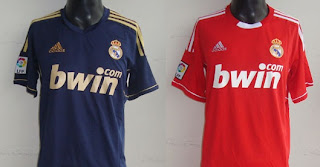 Second and third kit jerseys of Real Madrid 2011-2012