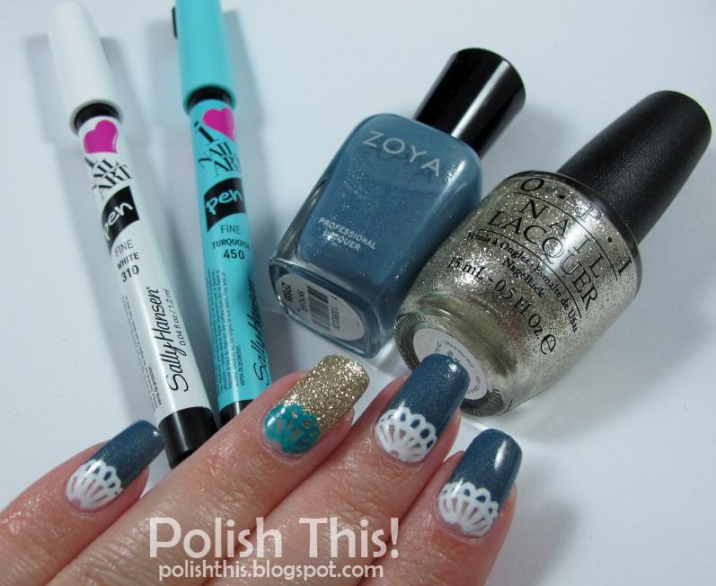 Lace Nail Art with Sally Hansen I Heart Nail Art Pens - Polish This!