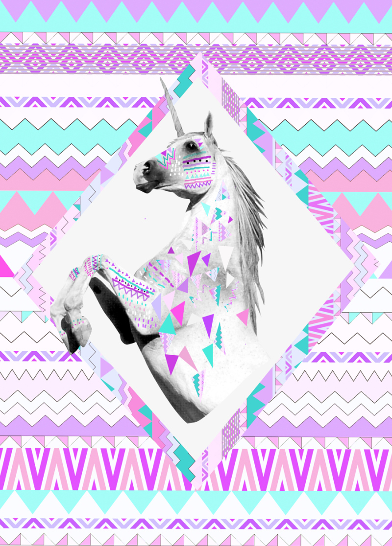 Wallpaper iphone tumblr unicorn - Twin Shadow Art Print Ponny Horse Hipster Urban Outfitters Kris Tate Vasare Nar Native Aztec Geoemtric Pastel Background Jpg 800 1116 Wallpaper
