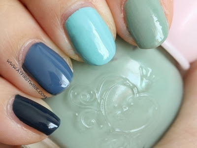 Etude House green-blue ombre nails